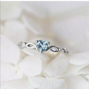 Blue silver heart danity ring 925 sterling